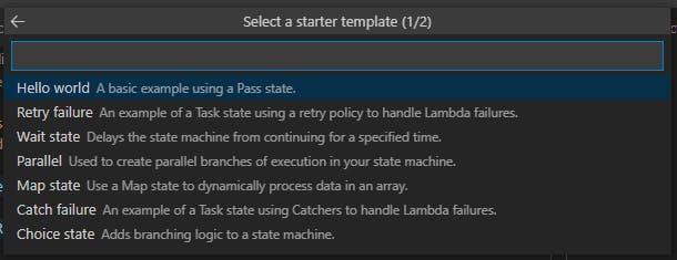 Screenshot of list of State Machine Templates