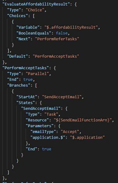 Definition in JSON with many brackets