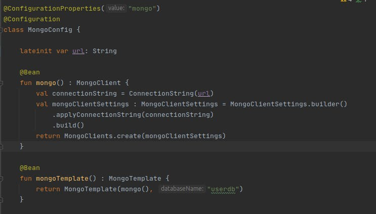 """The line @ConfigurationProperties(""""mongo"""") has been added to the annotations, along with a lateinit var url: String which is now the source of the connectionString value"""