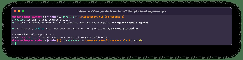 terminal command: copilot app init django-example-copilot