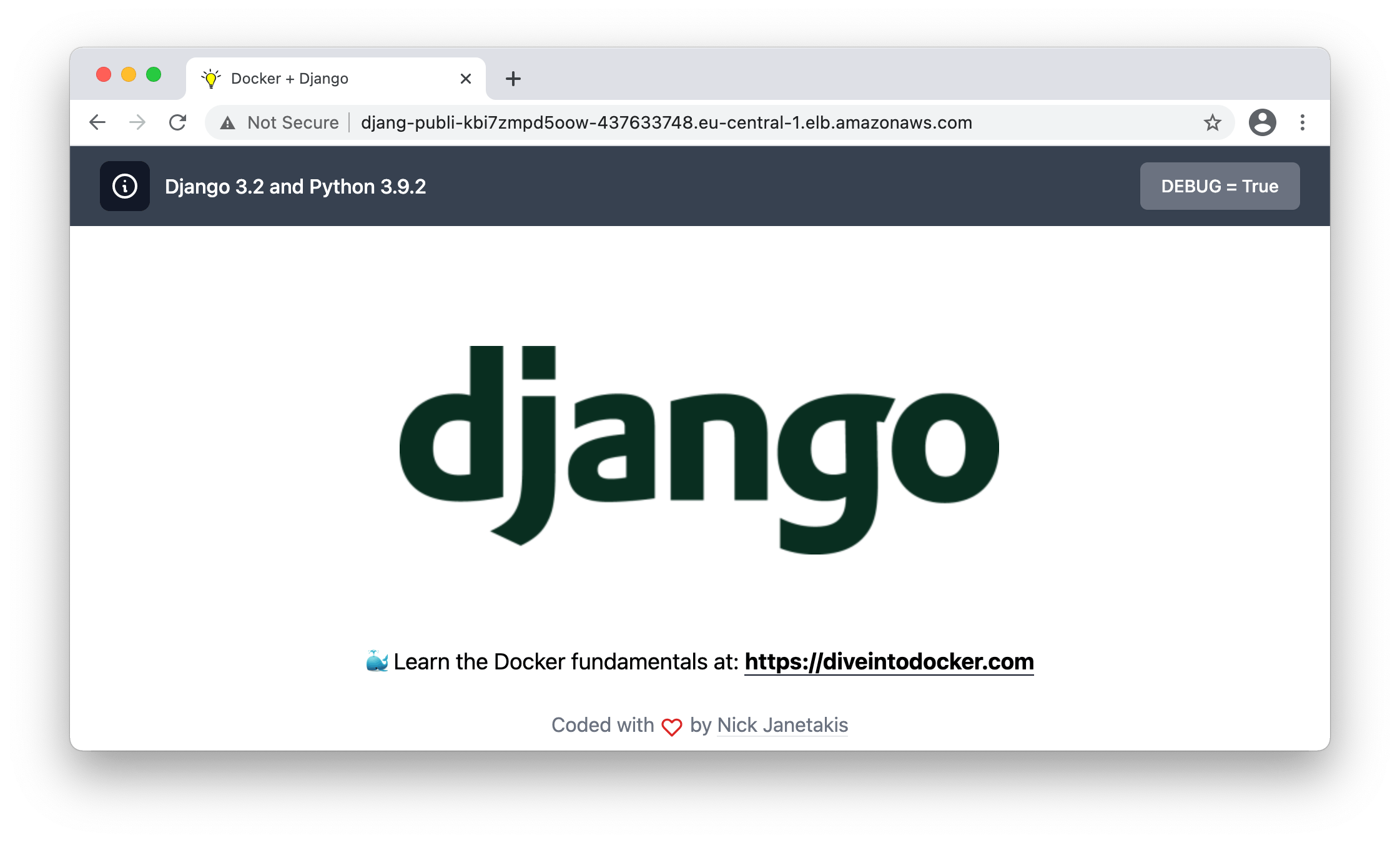 the result will display the example django app