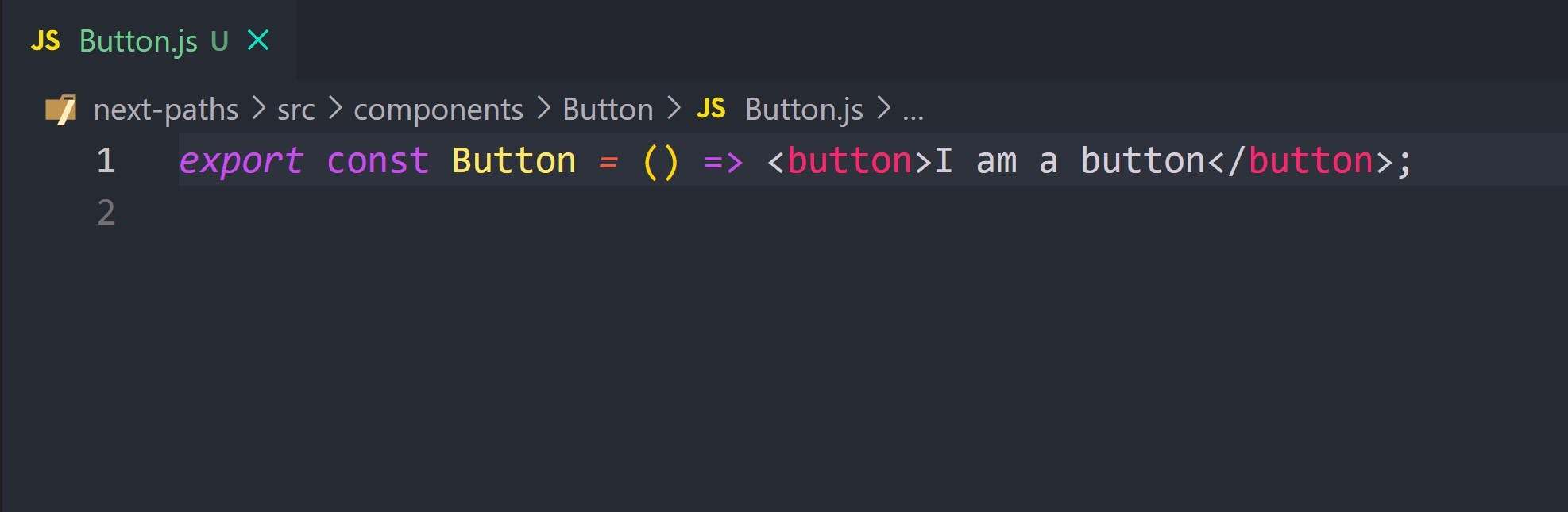 basic button component exporting a button