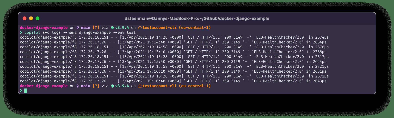 terminal command: copilot svc logs --name django-example --env test