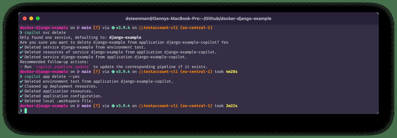terminal command: copilot app delete --yes