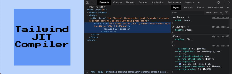Tailwind JIT Compiler custom size