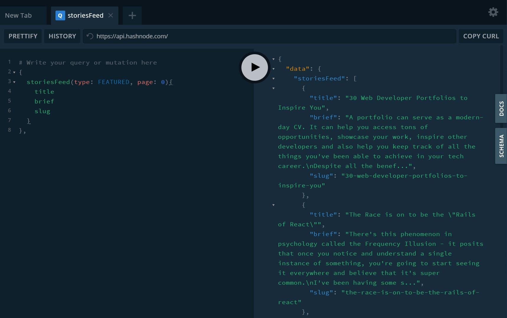 Hashnode API GraphQL Playground