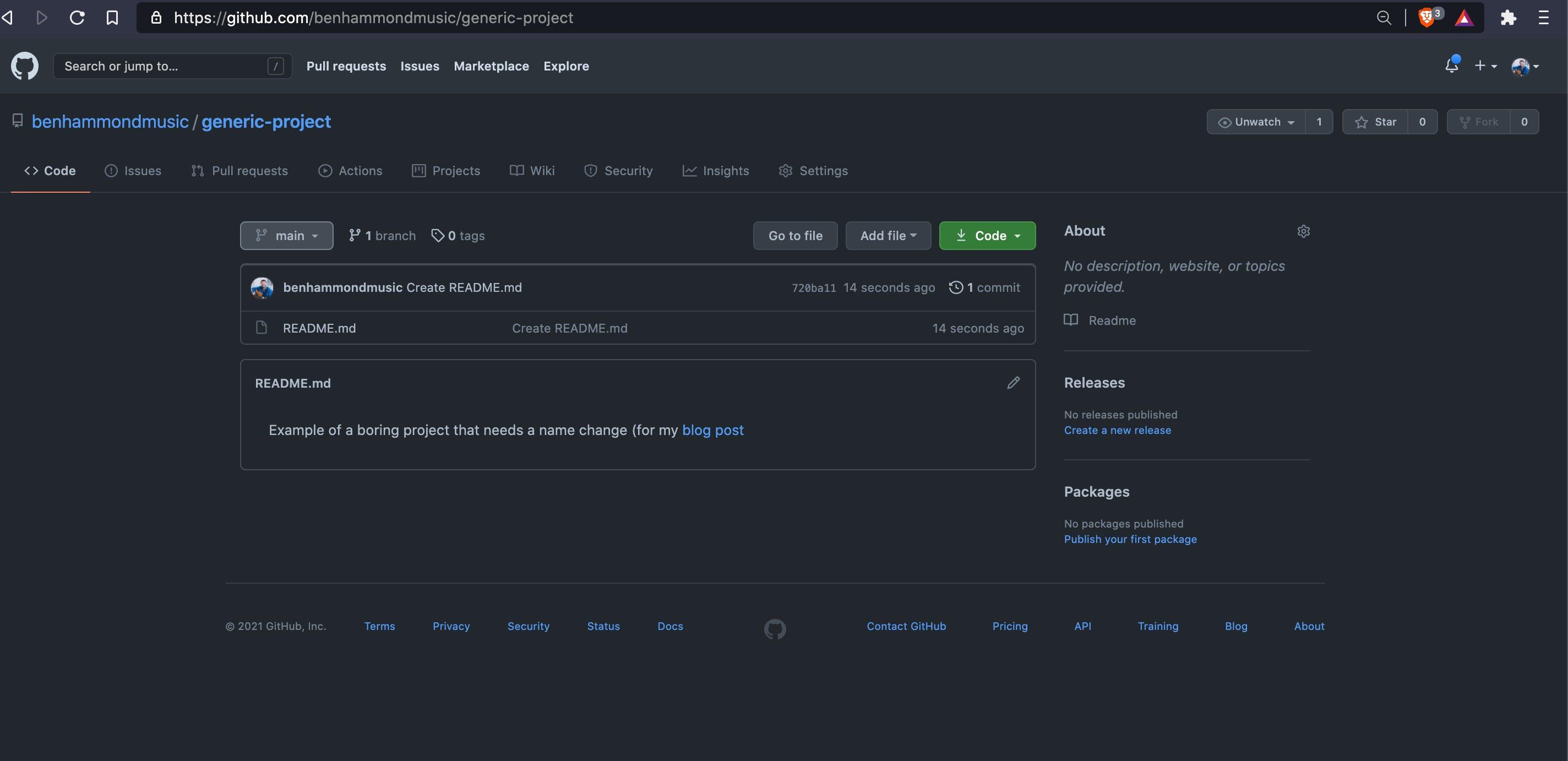 Screen Shot of GitHub project