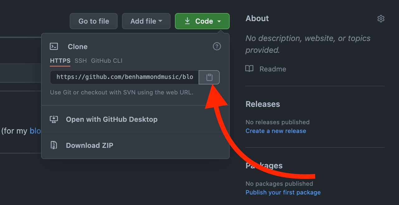 Screen Shot showing clipboard copy button for new URL