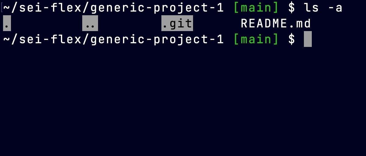 Screen Shot showing terminal displaying hidden files using ls -a