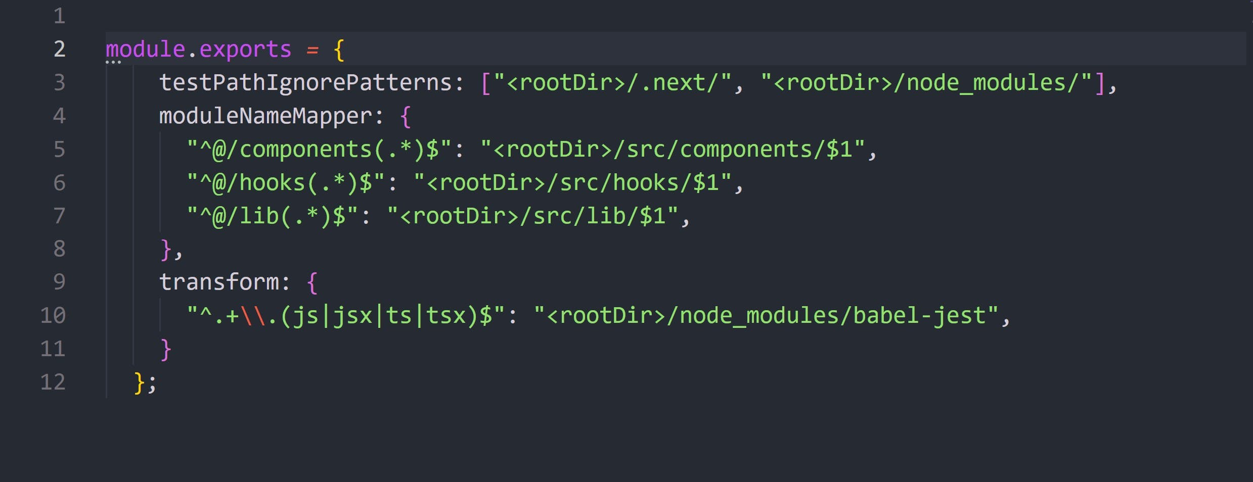 Our jest.config file with path aliases setup along with ignore files and babel-jest transform