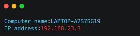 Output for IP Address Fetcher Using Python