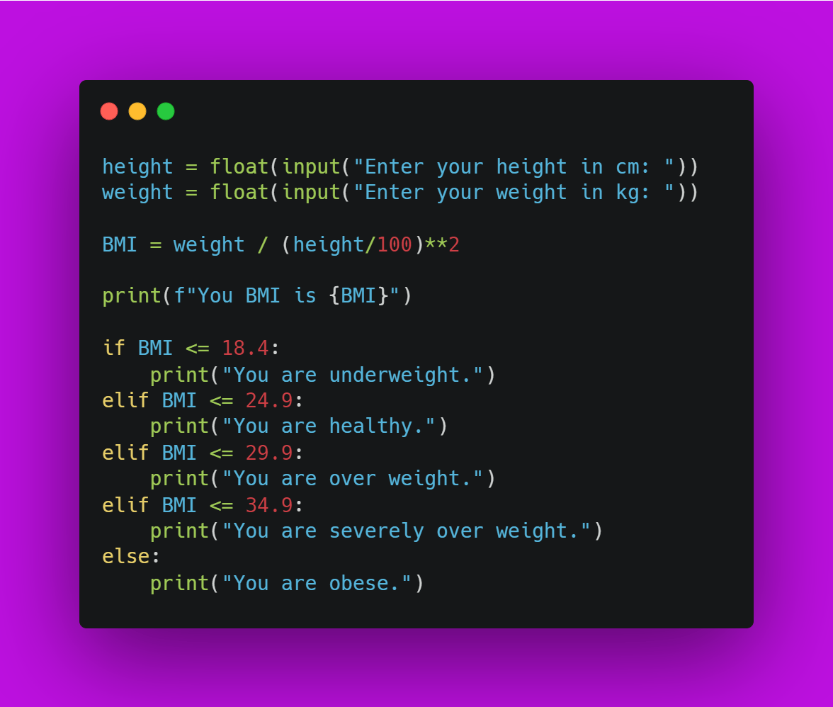 Final Source Code for BMI Calculator using Python