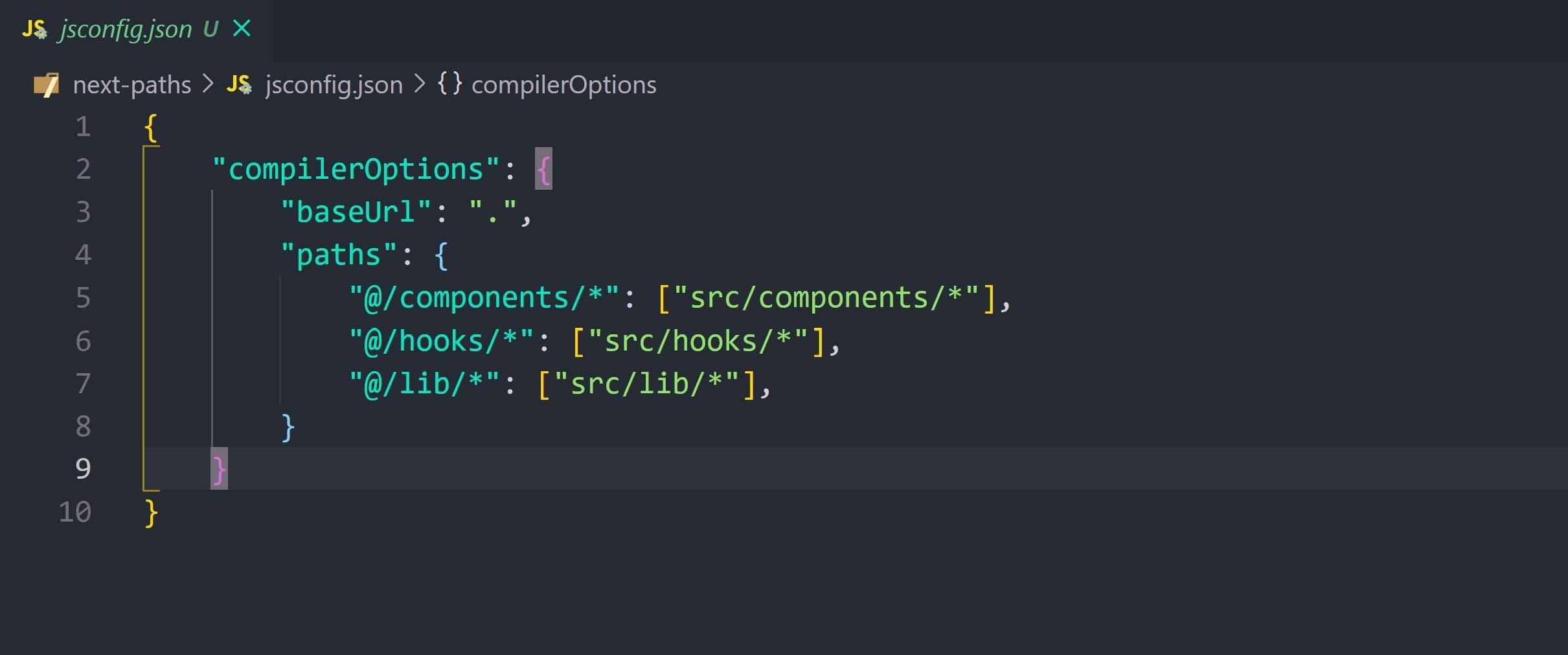 My jsconfig.json file with path alias setup