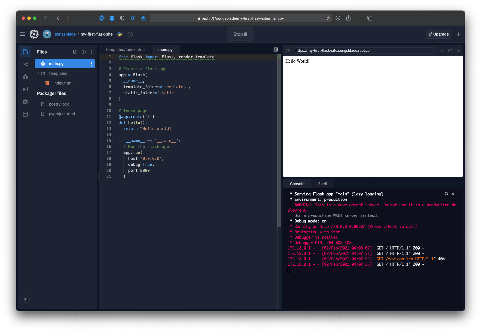 Repl editor with the index and main tabs both open