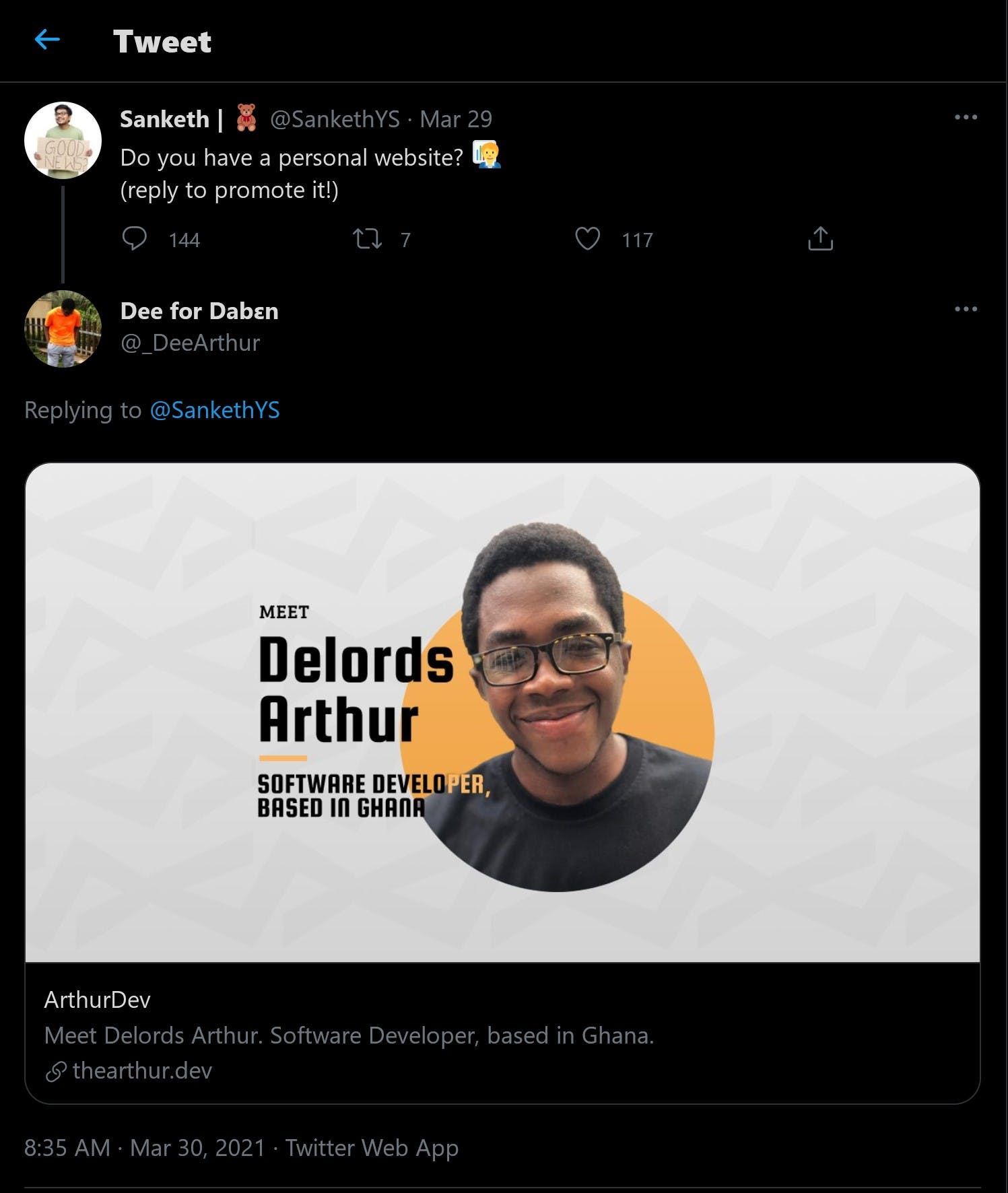 Screenshot of tweet with info card linking to thearthur.dev