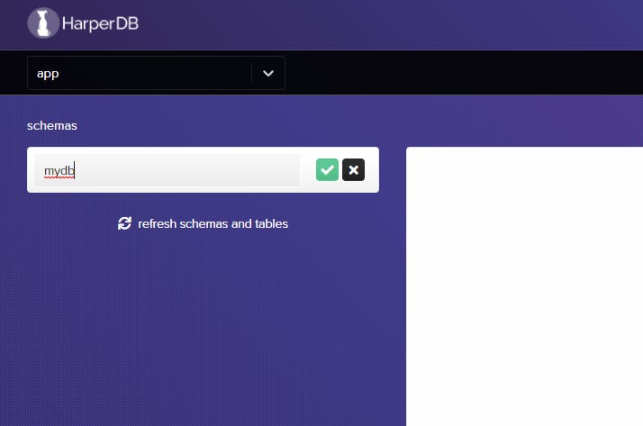 HarperDB Create Database Schema