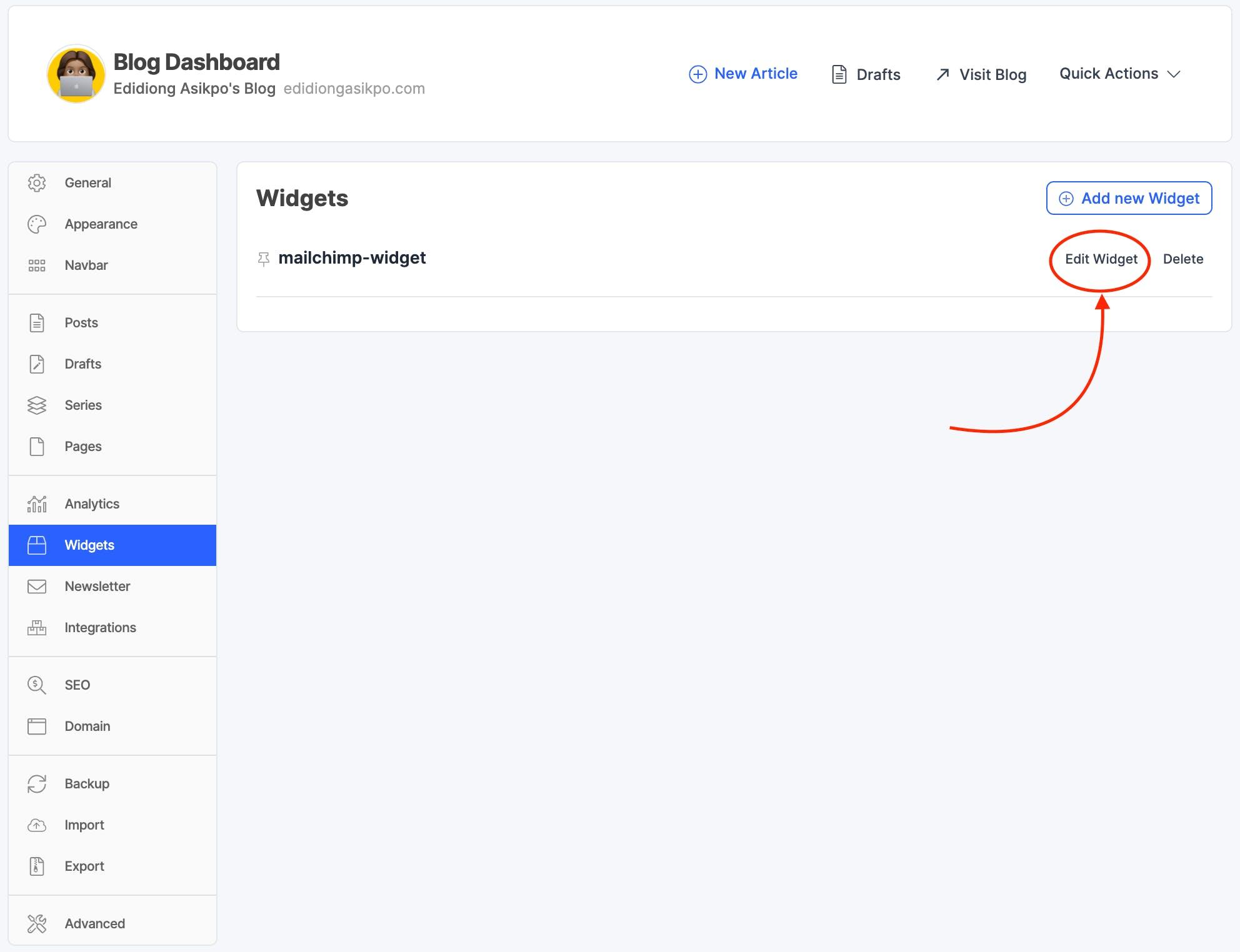 Edit Widget on Hashnode