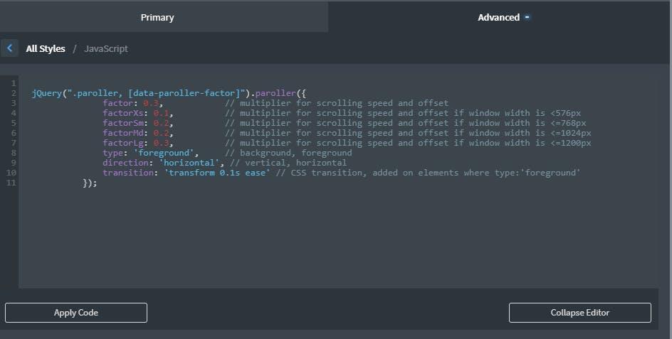 paroller.js code snippet in oxygen builder.PNG