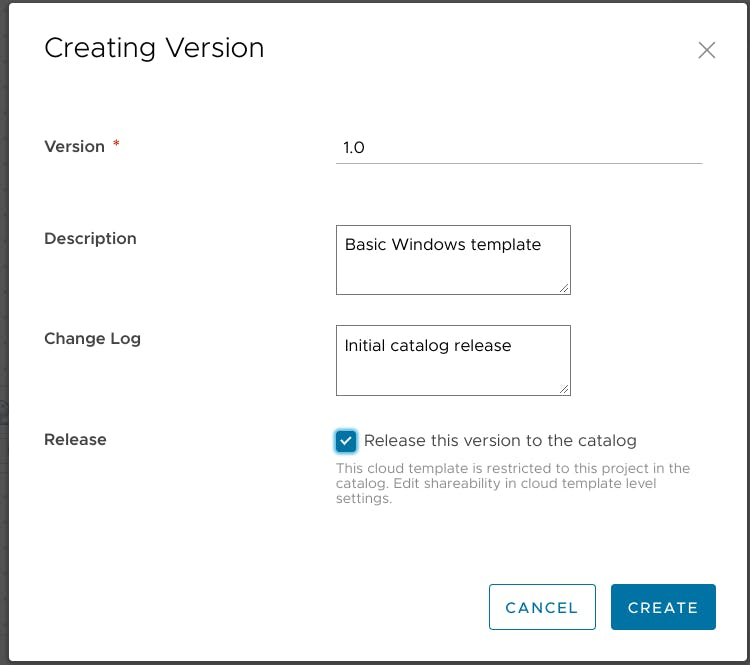 Releasing the Cloud Template to the Service Broker catalog