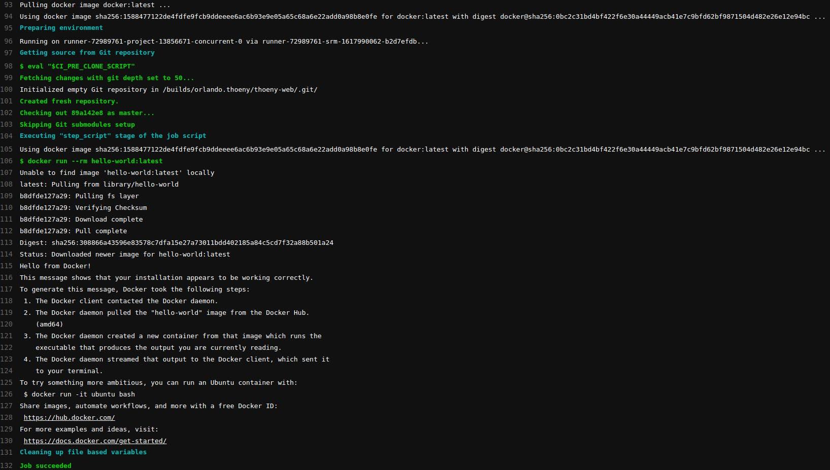 GitLab CI pipeline output