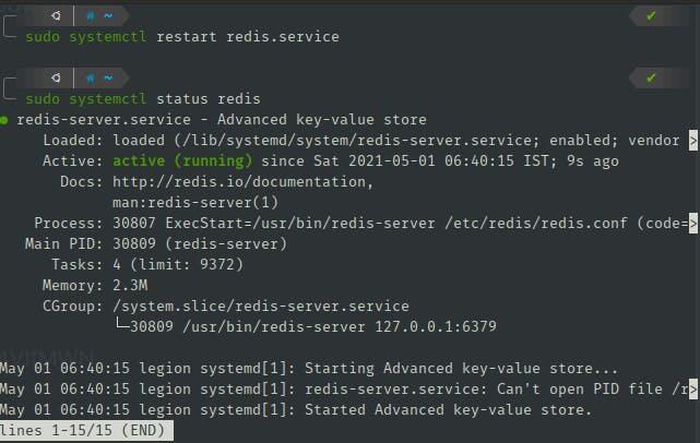 Restart Redis service to check status