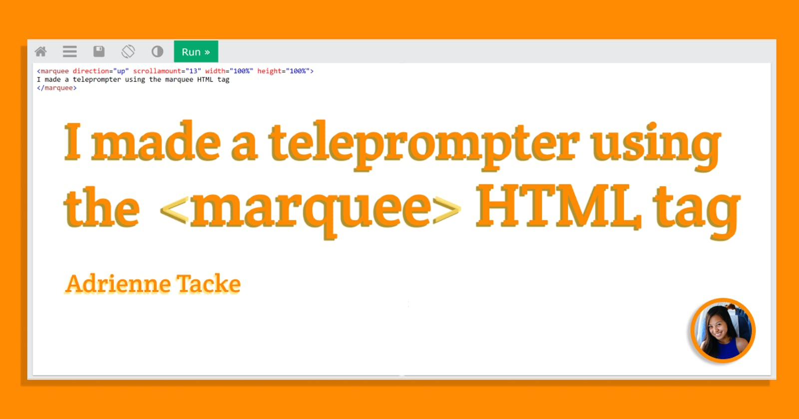 I made a teleprompter using the <marquee> HTML tag