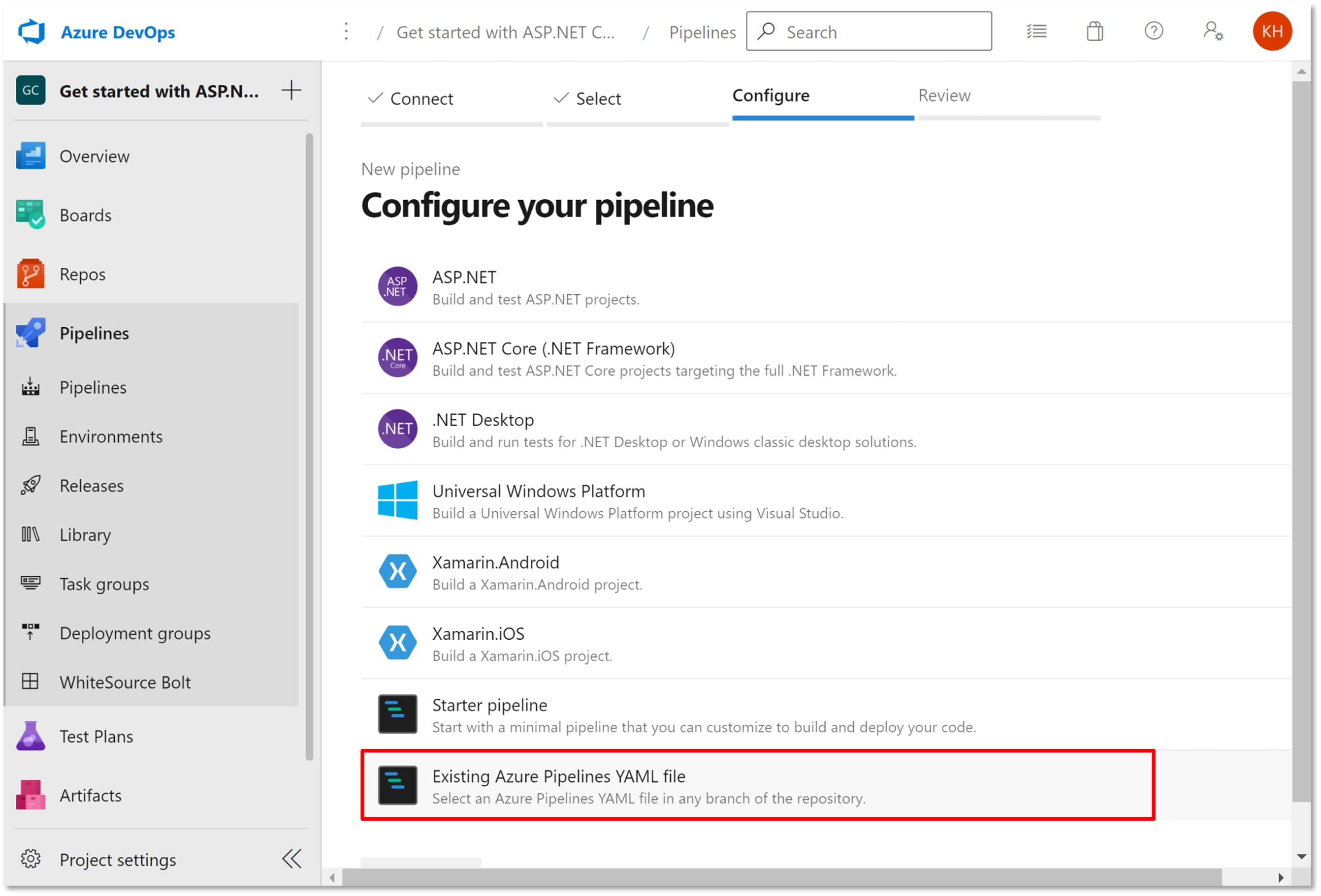 Existing Azure Pipelines selection.png