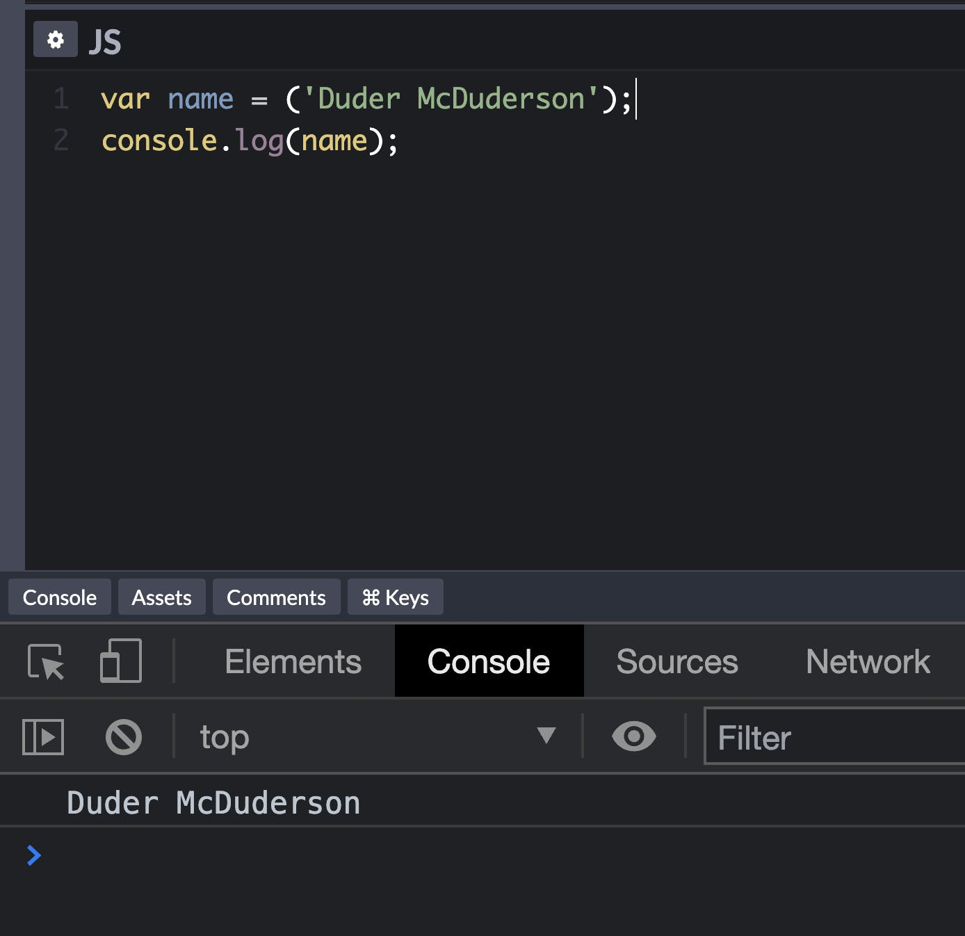 Demonstrating console.log() in Javascript