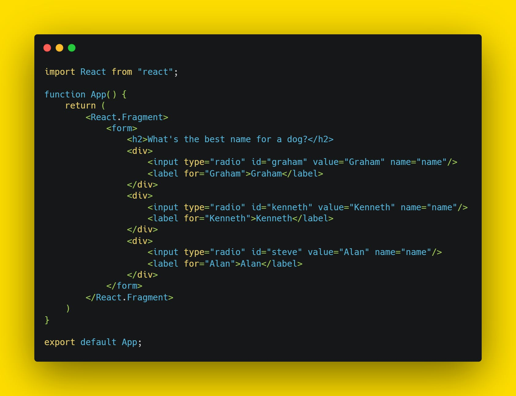starting code for form