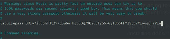 Set password as the string generated by the above command