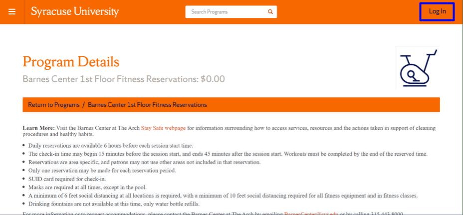 Gym website home page login link