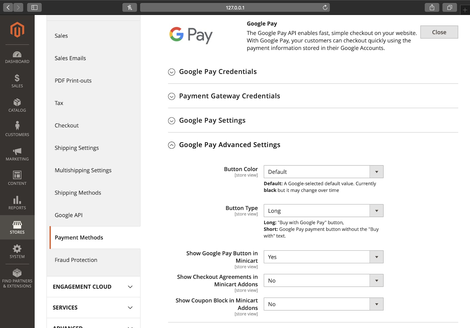 Magento 2 Google Pay configuring it inside the admin panel