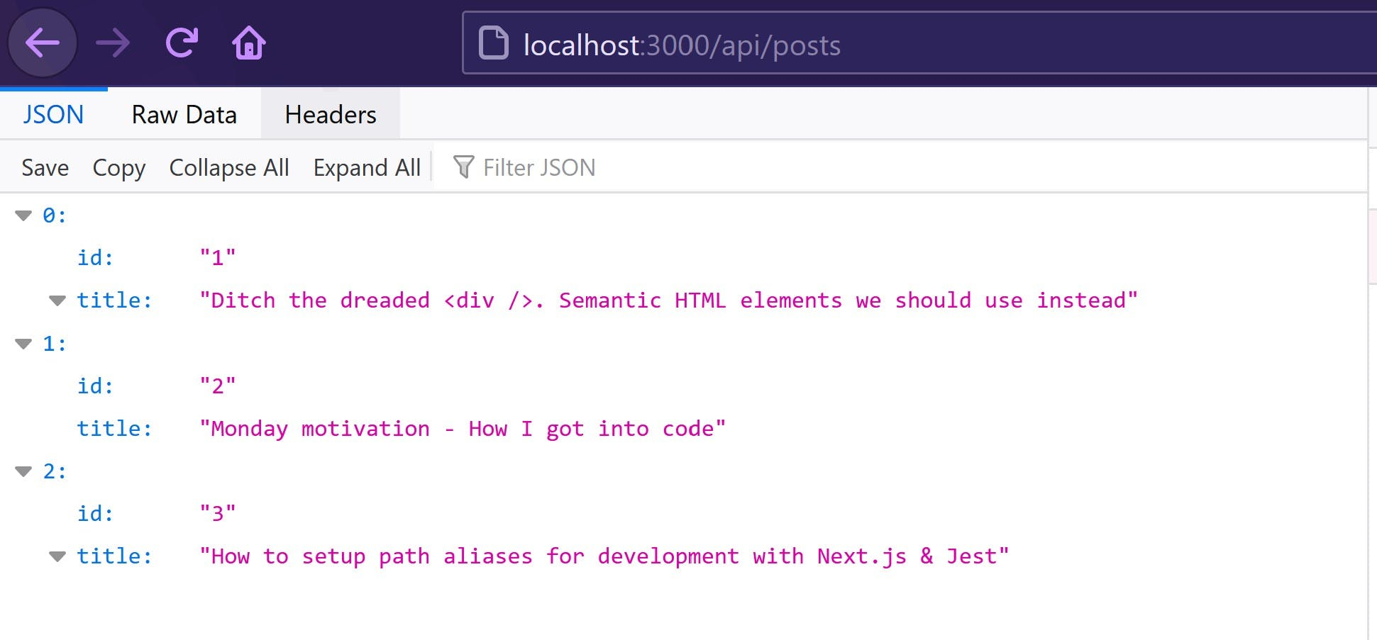 JSON response of our hardcode posts