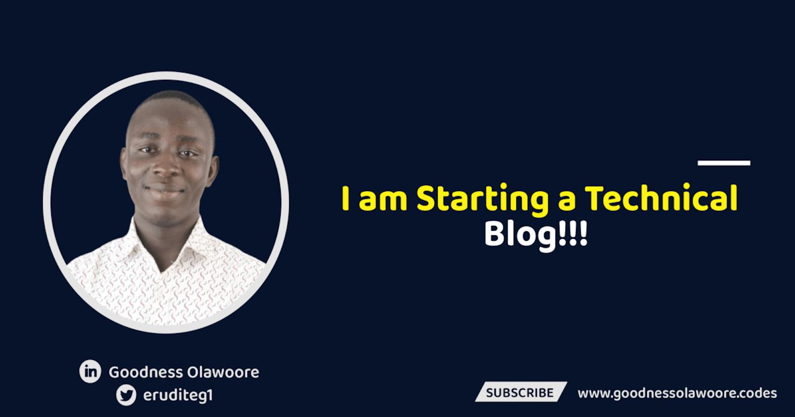 I am starting a technical blog!!!