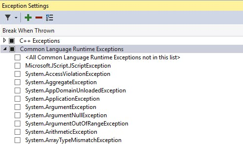 Debugger - Exception Settings