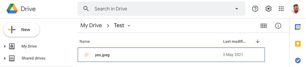 File uploaded in Google drive