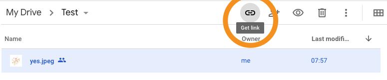 Google drive share button