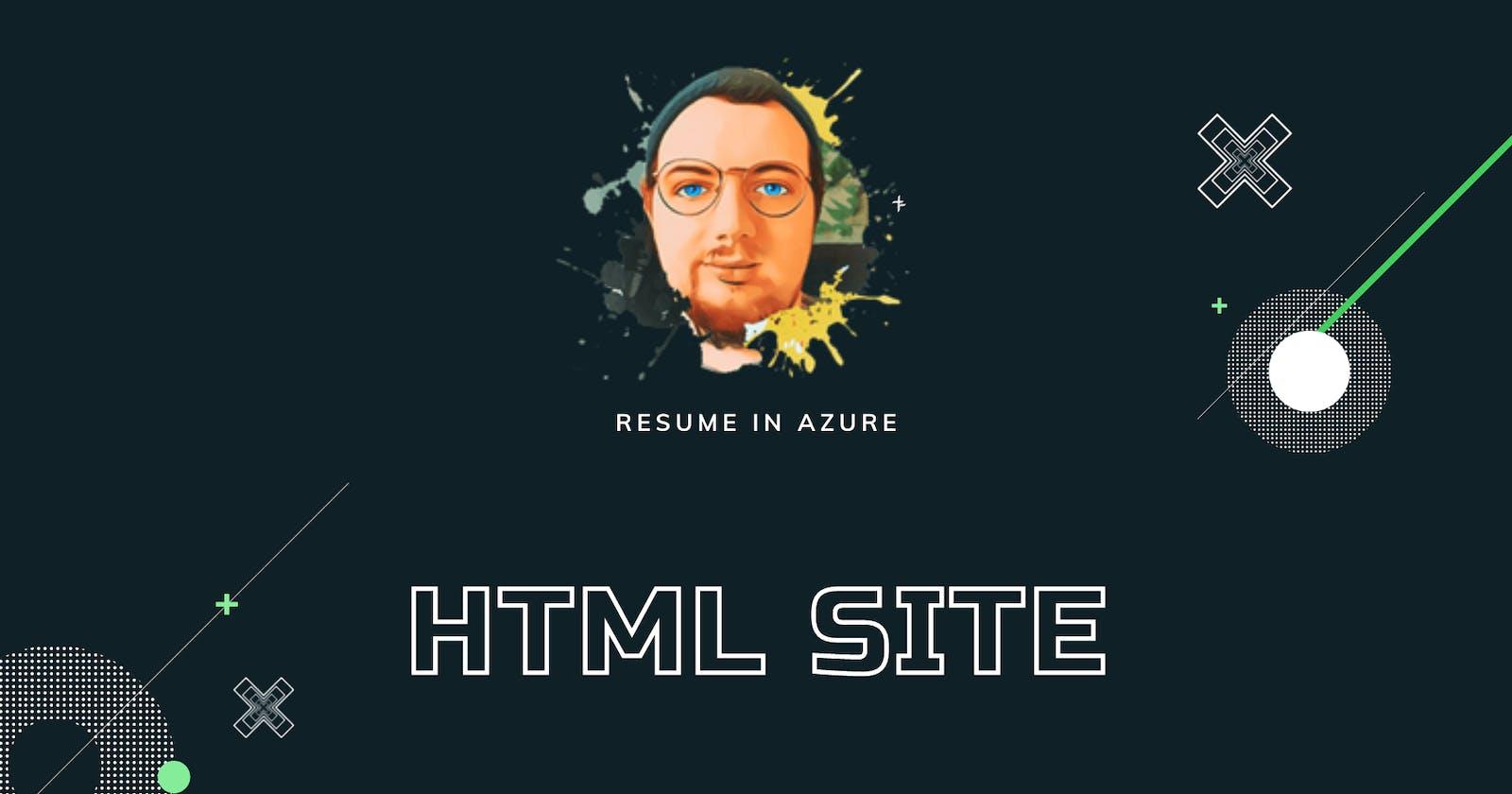 Resume in Azure #03: HTML Site
