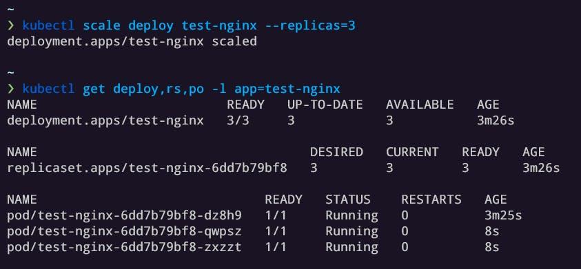 Creating 3 replicas of nginx pods