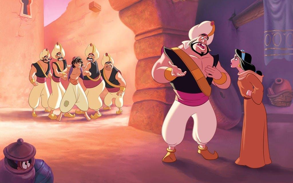 Jasmine ordonne aux gardes de libérer Aladdin sur ordre de la Princesse.