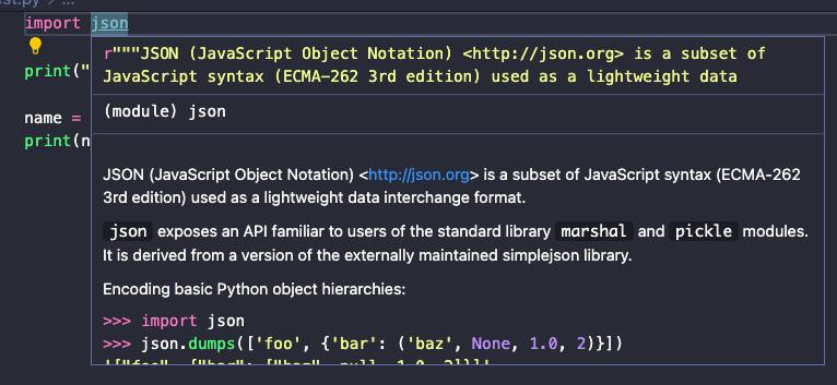 Python documentation in Visual Studio Code