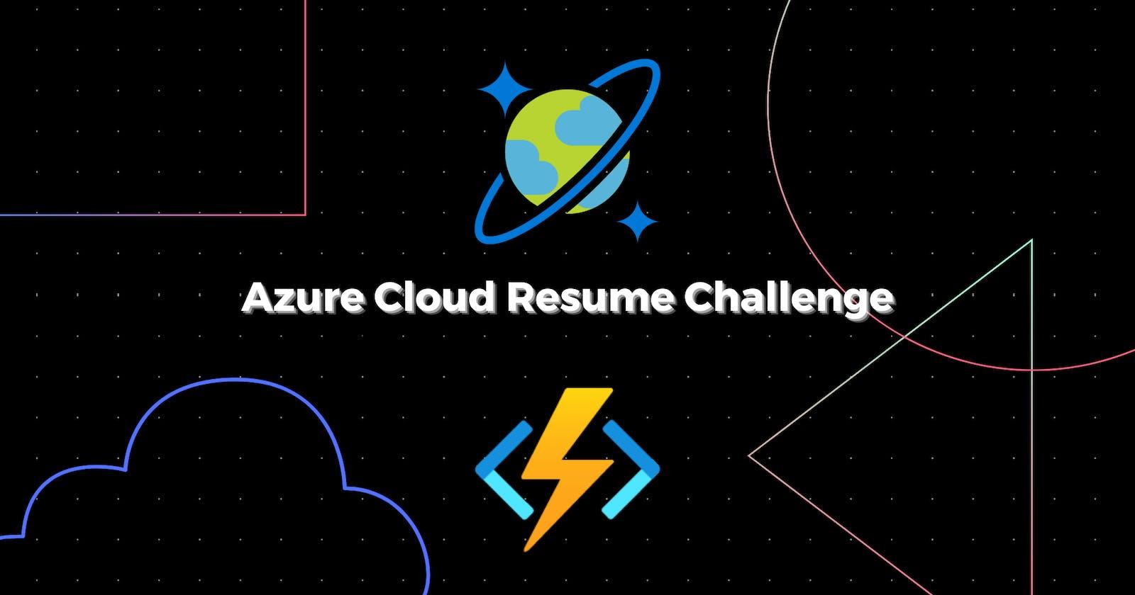 A Cloud Guru Azure Resume Challenge 2021