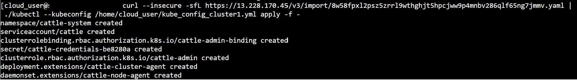 applying yaml file to the RKE cluster for rancher import