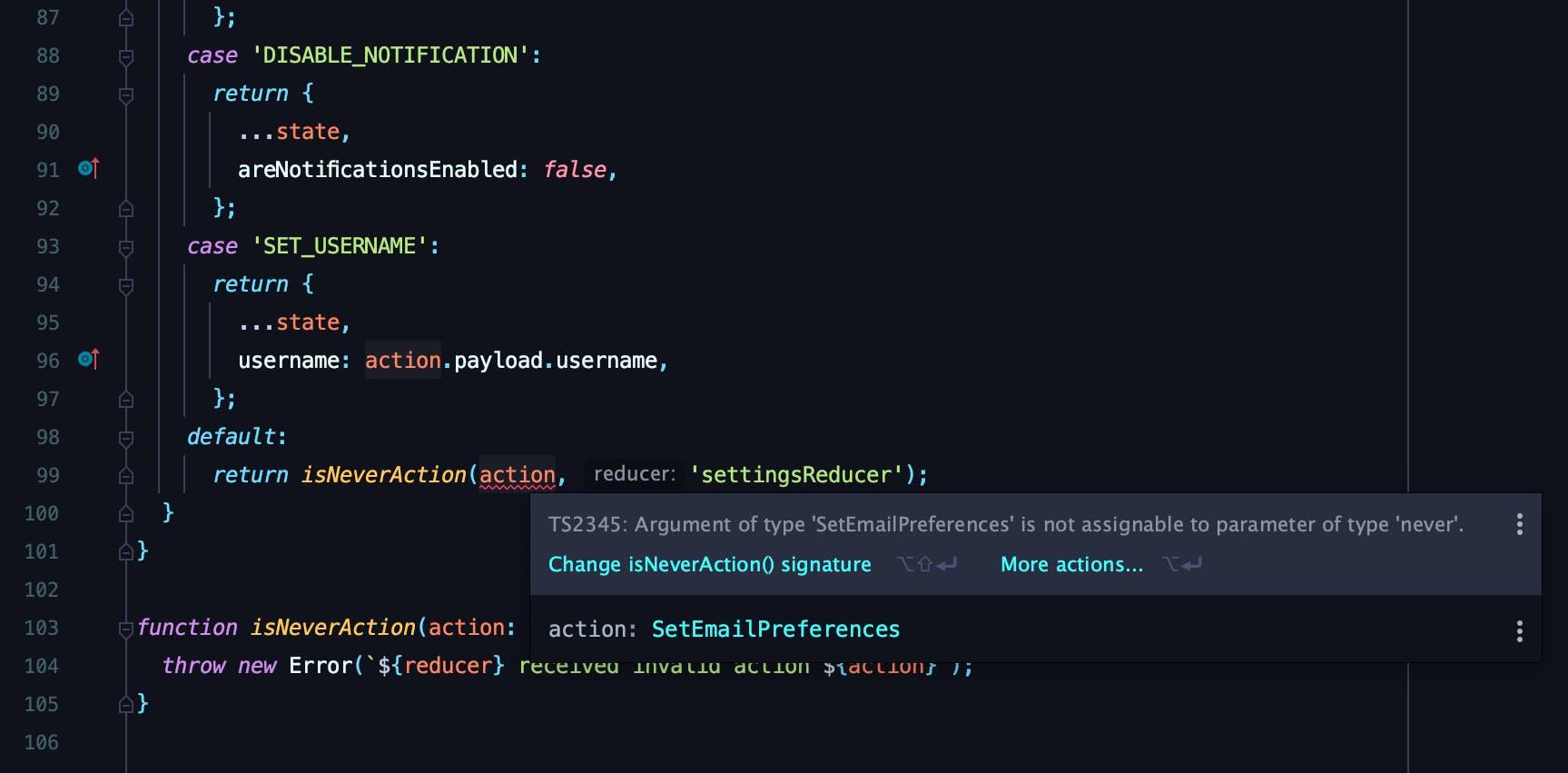 Type error from never inside WebStorm