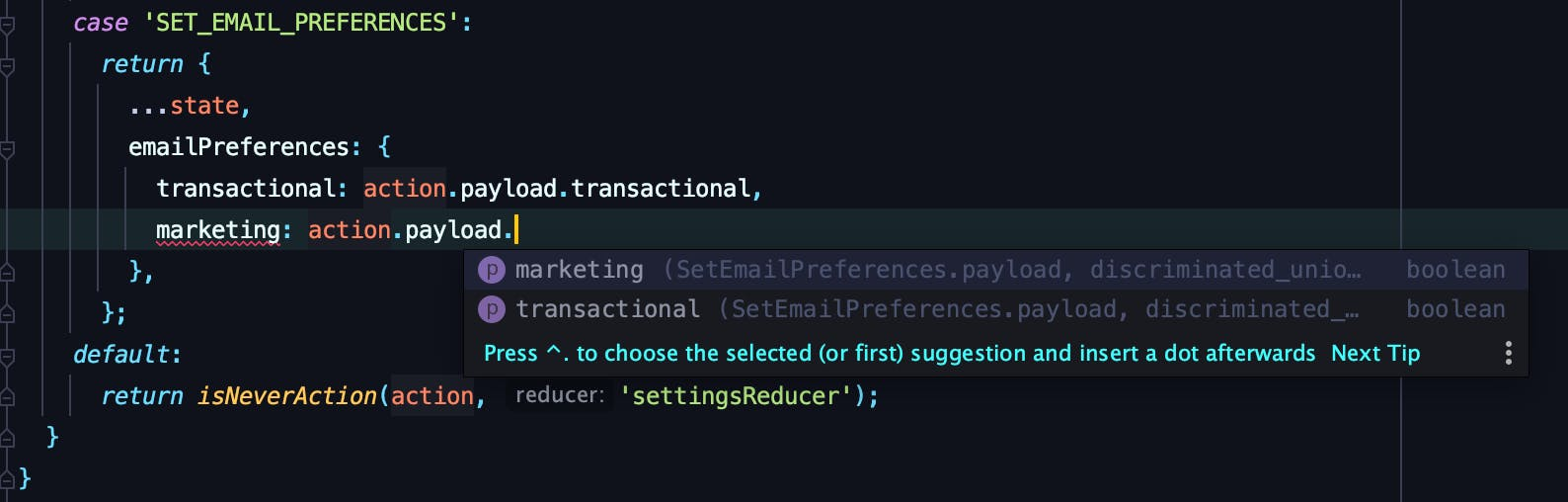 WebStorm autocomplete only has marketing or transactional