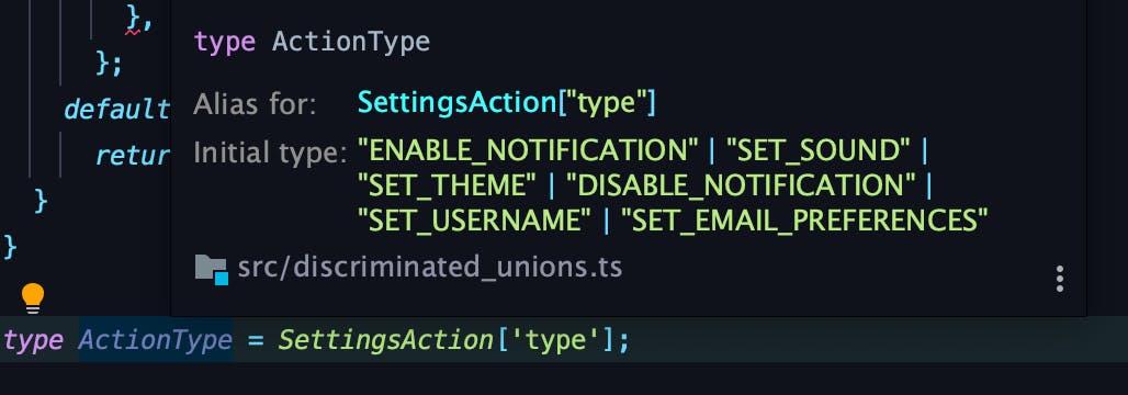 Internals of SettingsAction['type']