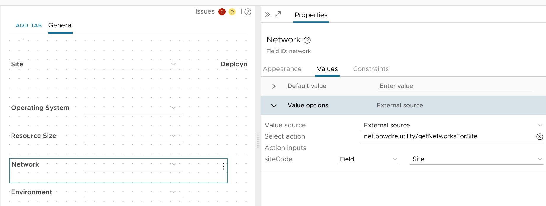 Linking the Network field to the getNetworksForSite action