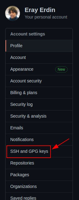 click SSH and GPG keys button on the left