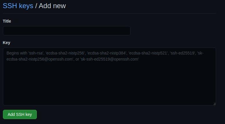 new ssh key form