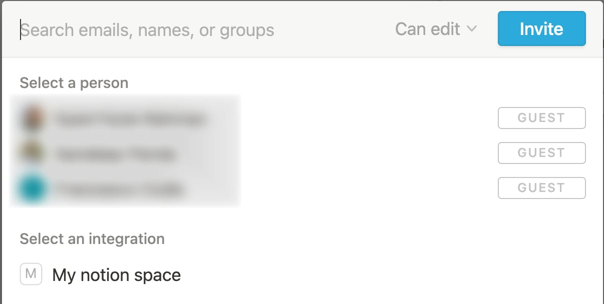 share notion space with people